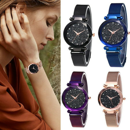 Cute Fashion Watch (Luxury Women Starry Sky Watch Magnet Strap Buckle Female Wristwatch Fashion with Star Watch)
