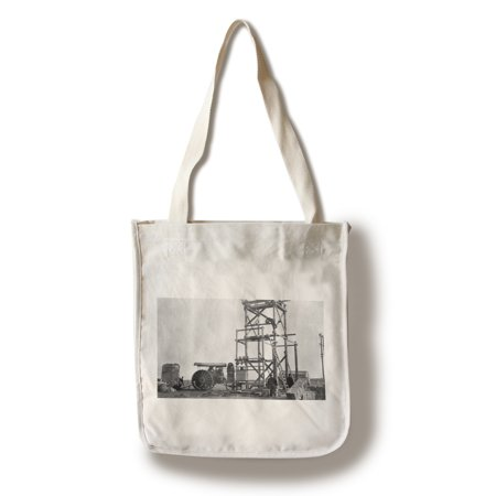 Stanford, Montana - Electric Plant Construction & Old Tractor (100% Cotton Tote Bag - Reusable)