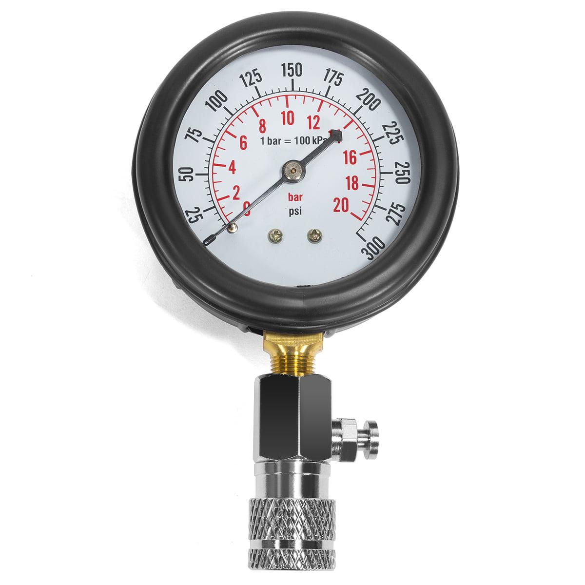 8 Pcs Petrol Engine Compression Cylinder Pressure Tester Gauge M10 M12 M14 M18 Auto Truck Car 0-300 psi
