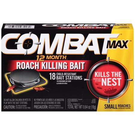 Combat Max 12 Month Roach Killing Bait, Small Roach Bait Station, 18 (Best Product To Kill Roaches)