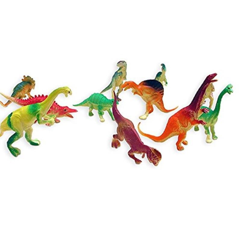 "Dazzling Toys Large Assorted Dinosaurs 4""-5"" Larger Size Dinosaur Figures - Pack of 12"