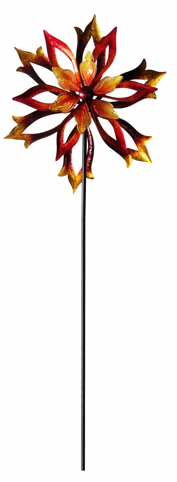 Metal Double-Sided Flame Spinning Garden Stake by Benzara