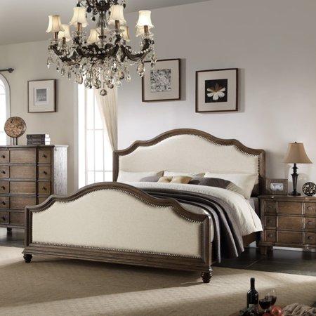 Oak Double Bed - ACME Baudouin Eastern King Bed in Beige Linen & Weathered Oak, Multiple Sizes