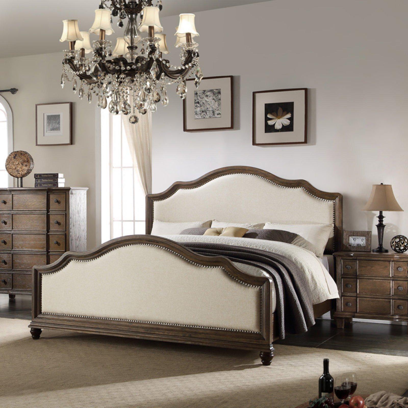 ACME Baudouin Eastern King Bed in Beige Linen & Weathered Oak, Multiple Sizes
