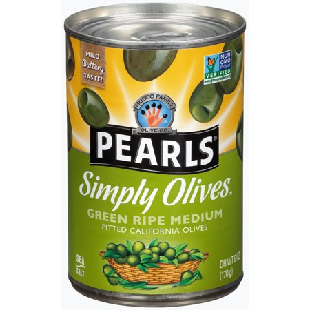 (3 Pack) Pearls Simply Olives Green Ripe Medium Pitted California Olives 6 oz. Pull-Top Can - Microfiber Olive Green
