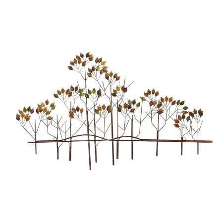 24 Inch Outdoor Wall - Decmode Traditional 24 X 39 Inch Multicolored Metal Tree Landscape Wall Decor