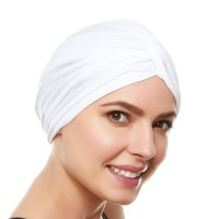 Beemo Womens Swim Cap Bathing Turban-Polyester Twisted Pleated Turban Head Cover