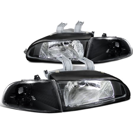 Spec-D Tuning For 1992-1995 Honda Civic Si Dx Cx Hatchback Jdm Black Crystal Corner Lamps Headlights (Left+Right) 1992 1993 1994 1995