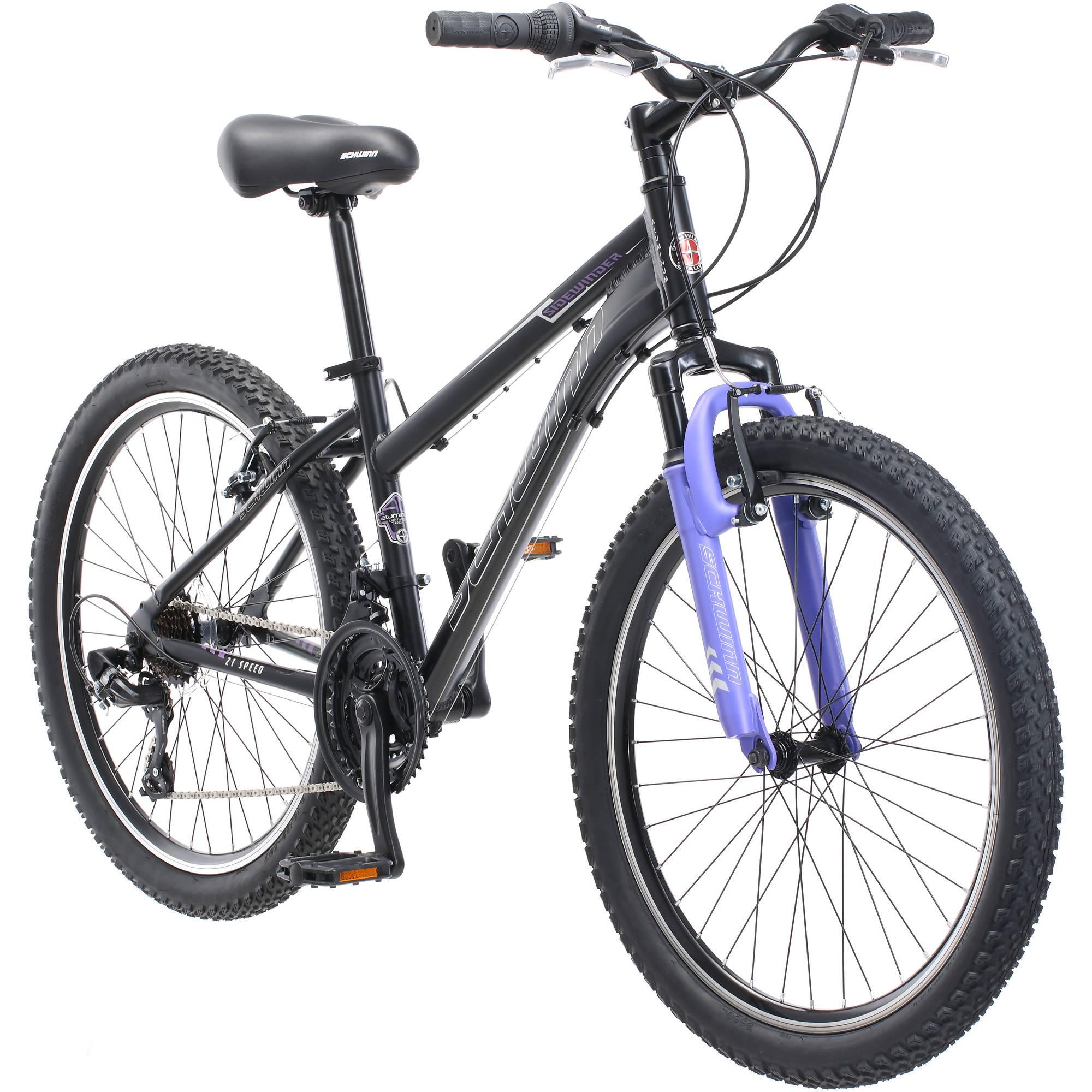 "24"" Schwinn Sidewinder Girls Mountain Bike, Black"