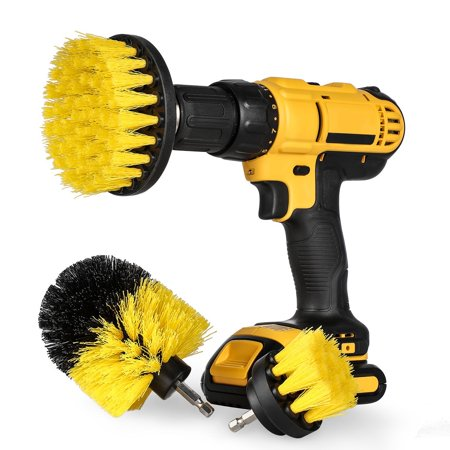All Purpose 3 Piece Power Scrubber Kit - Drill Scrubbing Brushes Cleaning Scrub Drill Bits Power Washer Scrubber Drillbit Ez All Purpose Window Washer