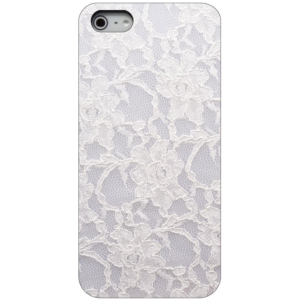 CUSTOM Black Hard Plastic Snap-On Case for Apple iPhone 5 / 5S / SE - White Lace Wedding