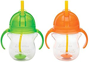 Munchkin Click Lock 7 Ounce Weighted Flexi-Straw Cup, 2 Pack, Green Orange by Munchkin