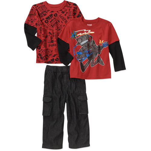 Garanimals Baby Boys' 3-Piece Hangdown Tee and Pants Set
