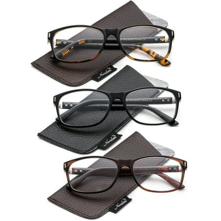 3 Value Pack Bifocal Reading Glasses Medium Size Frame Comfortable Fit Reading Glasses with (Glasses Frame Size Guide)