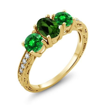 2.60 Ct Green Chrome Diopside Green Simulated Emerald 18K Yellow Gold Plated Silver (18k Diopside Ring)