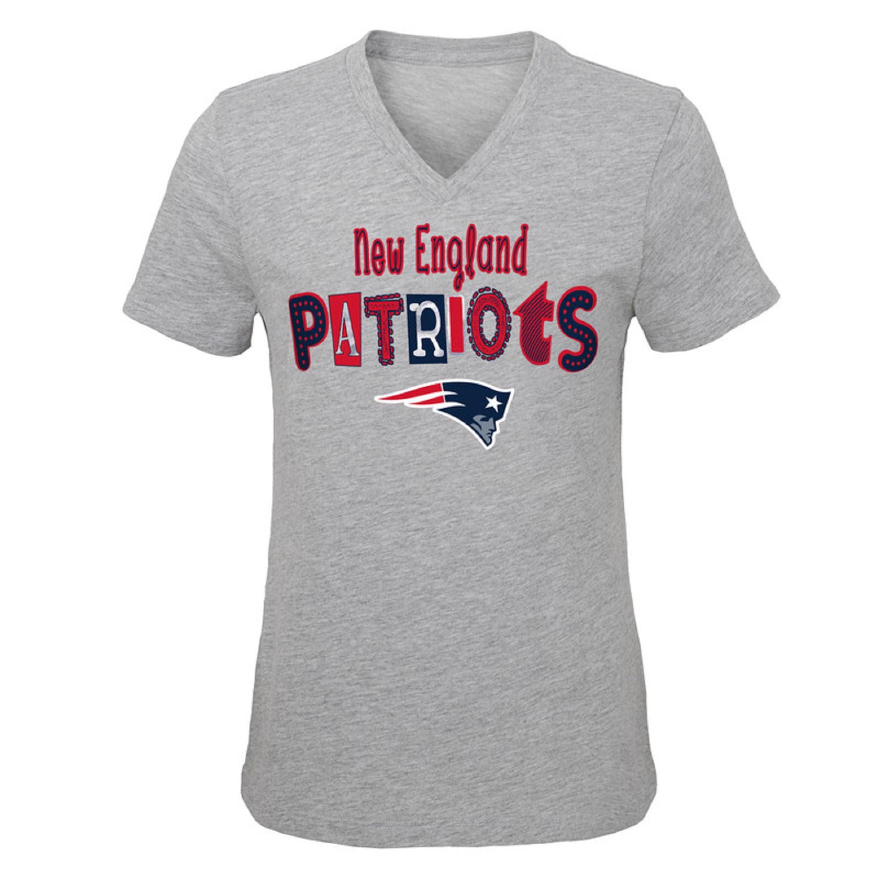 Girls Youth Heathered Gray New England Patriots Metallic V-Neck T-Shirt