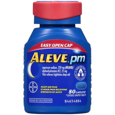 Aleve PM Soft Grip Arthritis Cap Pain Reliever/Nighttime Sleep-Aid Naproxen Sodium Caplets, 220 mg, 80