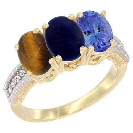 14K Yellow Gold Natural Tiger Eye, Whisky Quartz & Tanzanite Ring 3-Stone 7x5 mm Oval Diamond Accent, sizes 5 - - Quartz Tigers Eye Ring