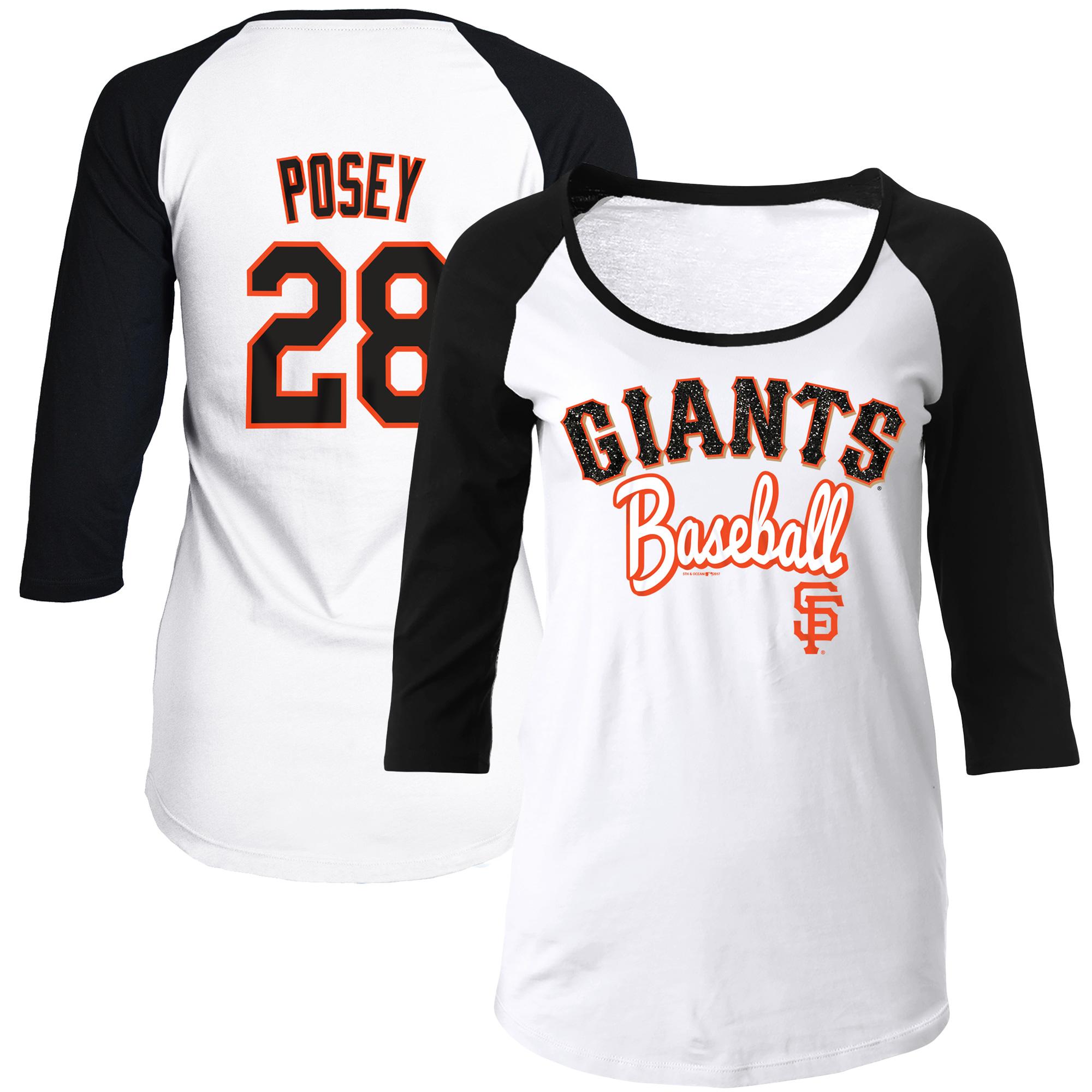 Women's 5th & Ocean by New Era Buster Posey White/Black San Francisco Giants Glitter 3/4-Sleeve Raglan T-Shirt