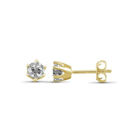 1 1/4 Carat T.G.W. White Topaz 14kt Gold Over Silver Stud Earrings