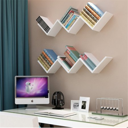 EECOO Fashionable Creative Floating Wall Shelf Rack Organizer Hanging Bookshelf Home Decor,White ()