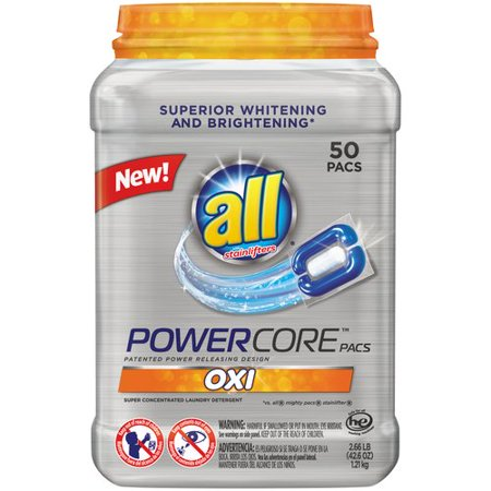 All   Oxi Powercore    Pacs Laundry Detergent 50 Ct Tub