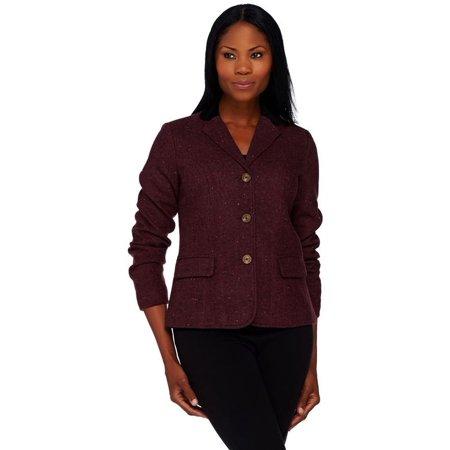 Isaac Mizrahi Tweed Blazer Velvet Collar A268442 - Velvet Blazer