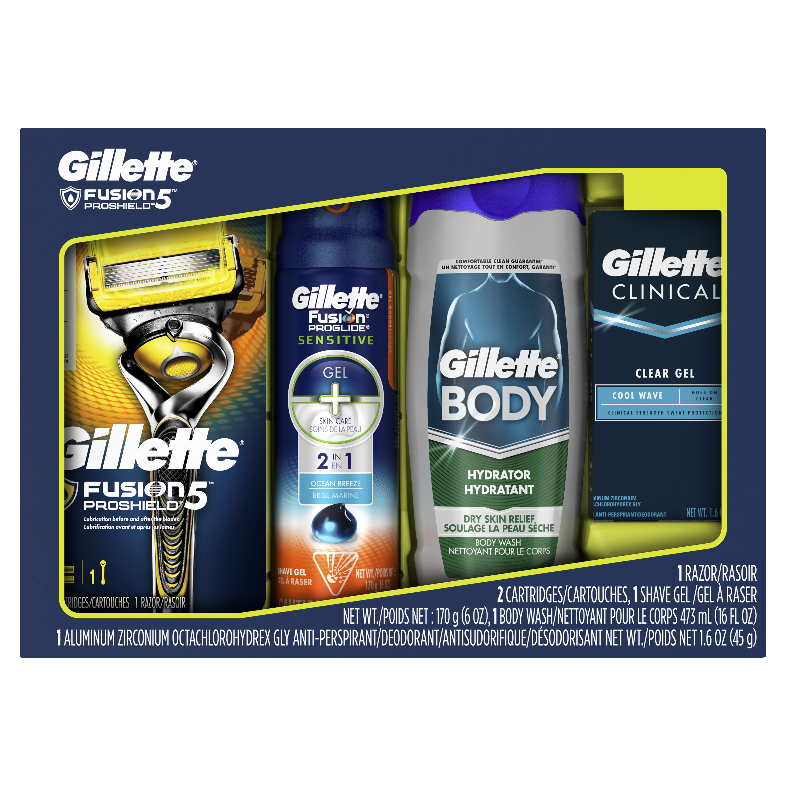 Gillette Fusion5 Proshield Razor, Body Wash, Deodorant Gift Set