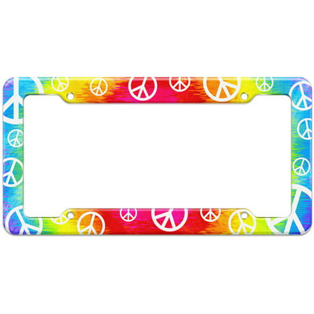 Tie Dye Peace Hippie Rainbow Pattern License Plate (Peace Sign License Plate)
