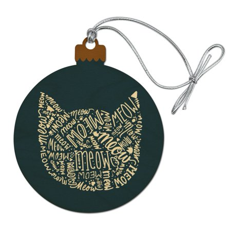 Meow Cat Kitten Kitty Silhouette Wood Christmas Tree Holiday Ornament