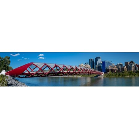 View of Peace Bridge with skylines in the background Bow River Calgary Alberta Canada Poster Print by Panoramic Images (Peace River Canada)