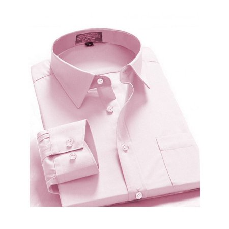 Wear French Cuff Shirts - Men's Regular Fit Long Sleeve French Cuff One Pocket Oxford Dress Shirt Pink