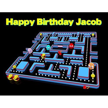 Cake Decorating Video - Pacman Retro Video Game Arcade Pixelated Edible Image Photo Sugar Frosting Icing Cake Topper Sheet Personalized Custom Customized Birthday Party - 1/4 Sheet - 76444