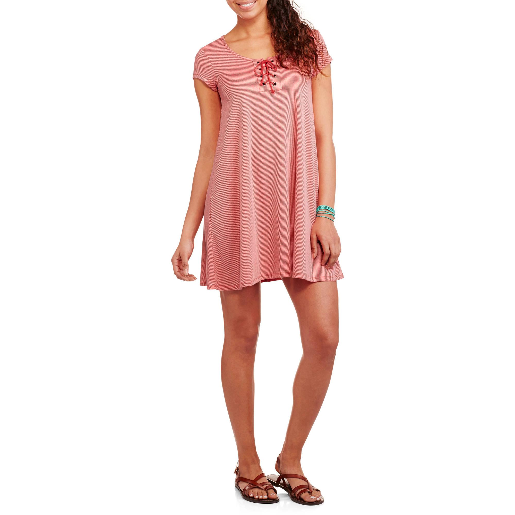 Derek Heart Juniors' Rib Lace-Up T-Shirt Dress