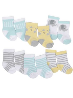 Gerber Baby Boys and Baby Girls Terry Crew Wiggle Proof Socks, 6-Pack