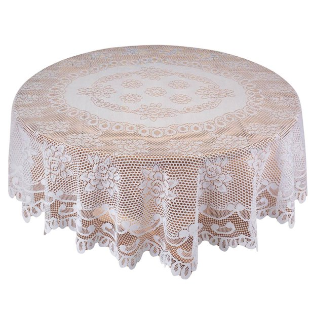 White Rose Lace Tablecloth 72 Round, Round Lace Table Toppers