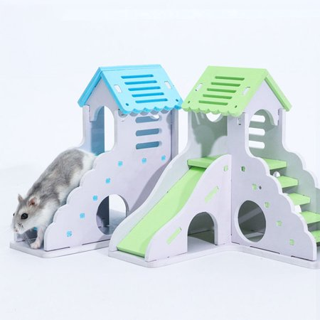 Pet Small Animal Hideout Hamster Hedgehog Guinea Pig House Two Layers Wooden Villa Exercise Play Toys with Ladder Pink small building with