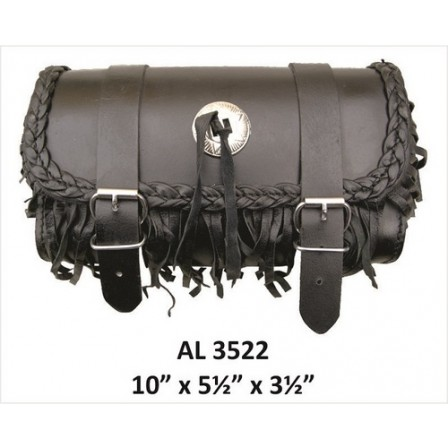 Motorcycle Travel Medium Fringe & Braided Leather Tool Bag With Silver Conchos