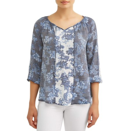 Women's Mix Print Peasant Blouse ()