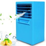 Personal Air Cooler, Portable Evaporative Conditioner, Mini USB Simply Modern Air Conditioner Fan for Office, Camping, Kitchen, Bedroom Blue