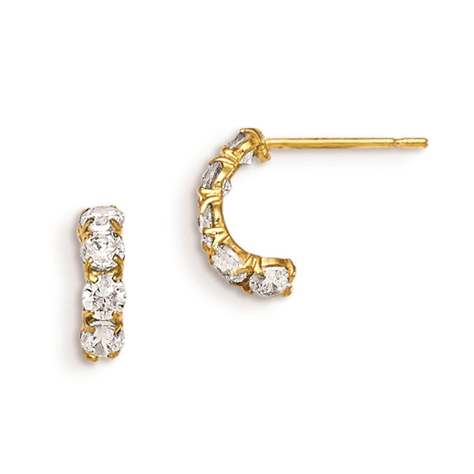 Madi K Kids 14k Yellow Gold Children's Five Stone Hinged Hoop Post Earrings