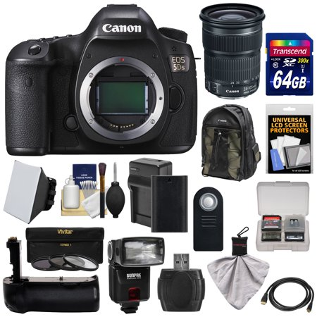Canon EOS 5DS Digital SLR Camera Body with 24-105mm STM Lens + 64GB Card + Battery & Charger + Backpack + Grip + Flash + Kit