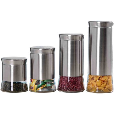 Home Basics Essence Collection 4 Piece Stainless Steel Canister Set ()