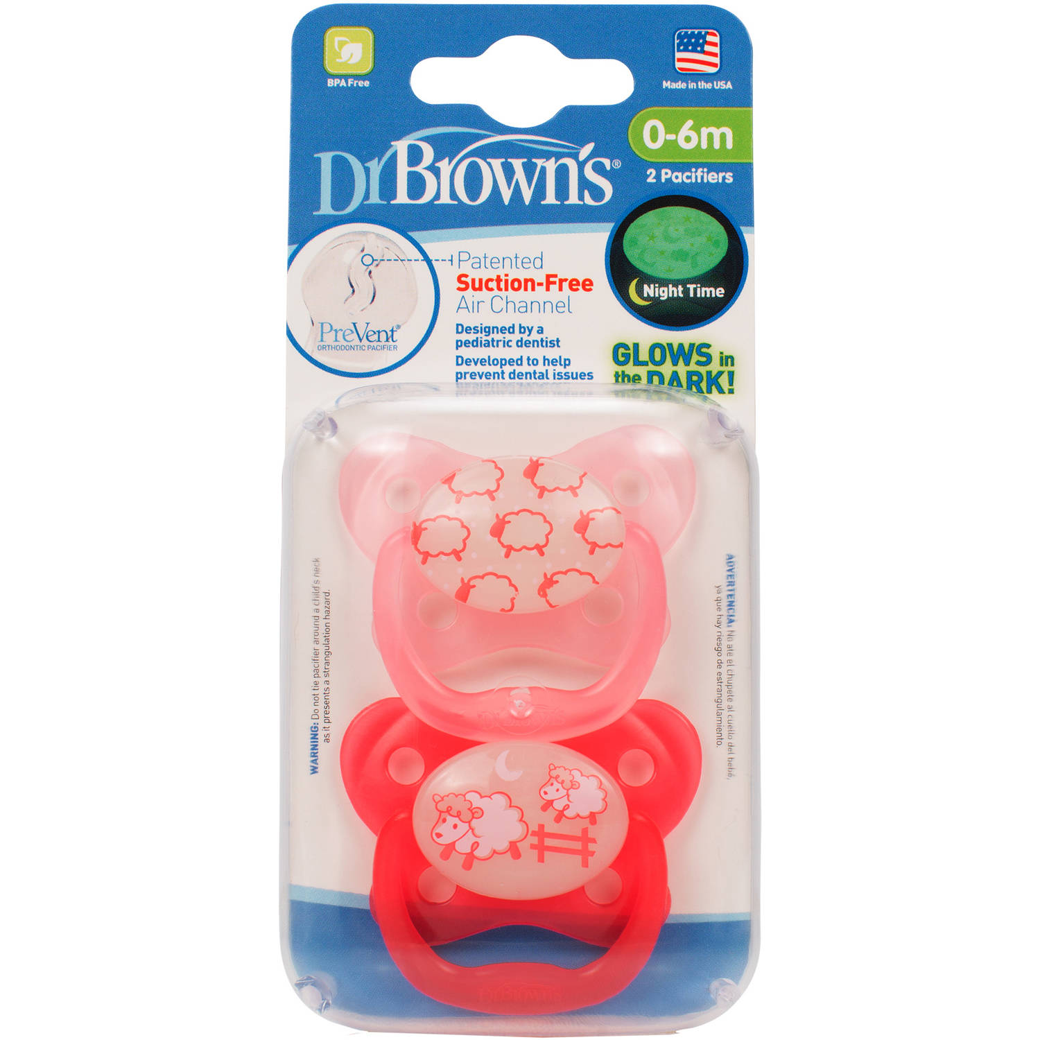Dr. Brown's Glow-in-the-Dark Pacifier, BPA-Free, State 1, Choose Your Color