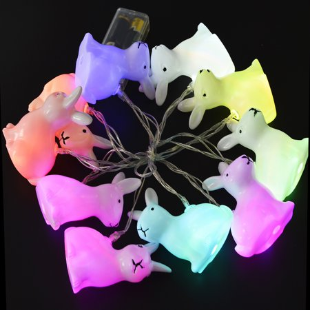 Easter Bunny LED Night Light,Bangcool Easter Rabbit String Lights Bunny Shaped 10 LED Battery Powered Decorative Lights with Clear Cord ()