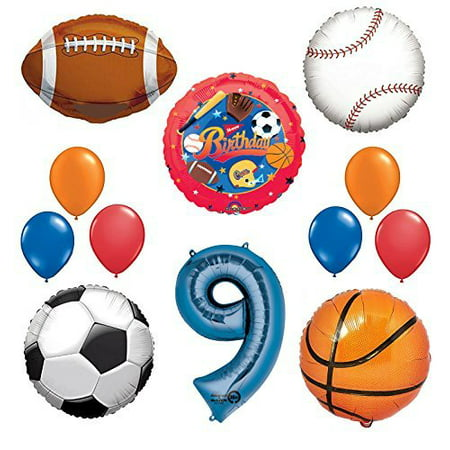 The Ultimate Sports Theme 9th Birthday Party Supplies and Balloon Decorating Kit - Sports Themed Birthday Parties