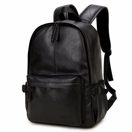 Men's Vintage Leather Backpack Rucksack Laptop Satchel Bookbag Travel Bag Black - Pokemon Bookbag