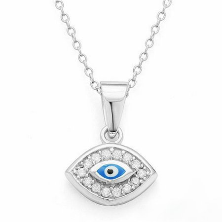 925 Sterling Silver Evil Eye White  Womens Pendant Necklace with Chain