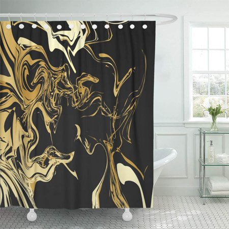KSADK Beige Marble Retro Design Gold Graphic Vintage Abstract Contrast Hipster Yellow Shower Curtain 66x72 inch - Yellow Shower