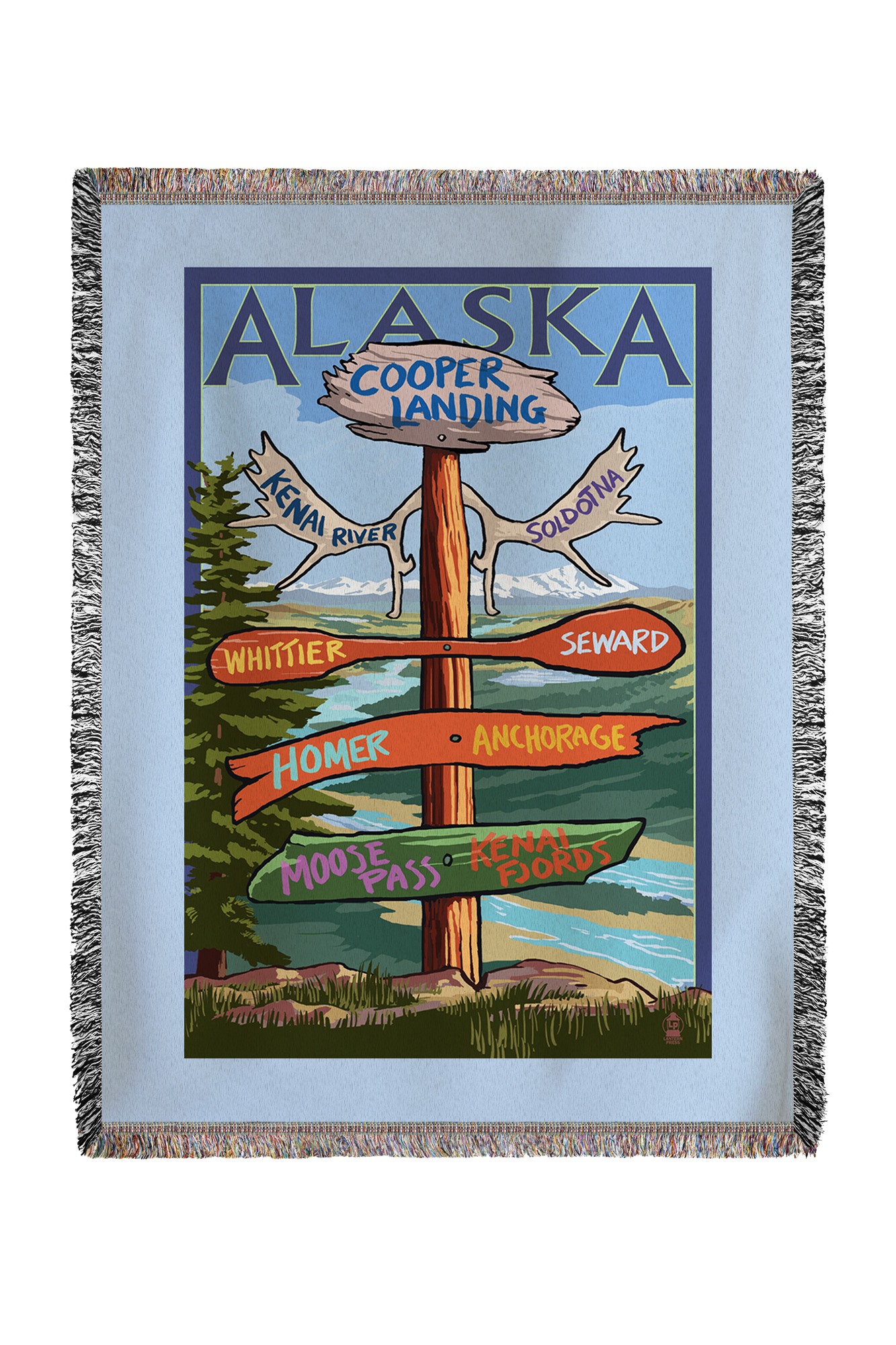 Kenai River, Alaska Sign Post Lantern Press Poster (60x80 Woven Chenille Yarn Blanket) by Lantern Press